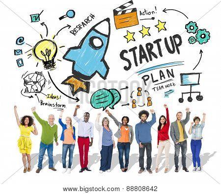 Start Up Business Launch Success People Celebration Concept