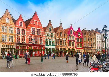 Christmas Grote Markt square of Brugge, Belgium.