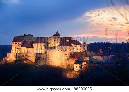 Castle From Burghausen  On Sunset