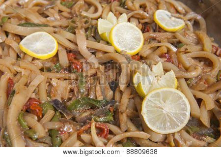Calamari With Vegetables At An Oriental Restaurant Buffet