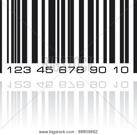 Bar Code Label With Reflection. Vector Illustration.