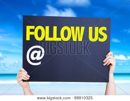 Follow Us with a copy space card with beach background