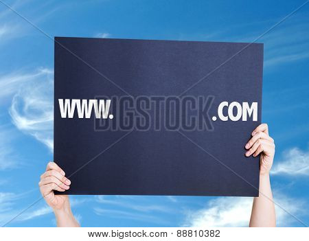 www. .com with a copy space card with sky background