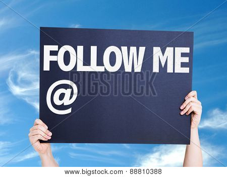 Follow Me with a copy space card with sky background