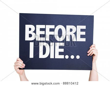 Before I Die... card isolated on white