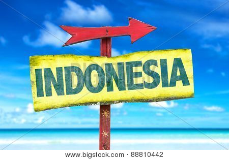 Indonesia sign with beach background