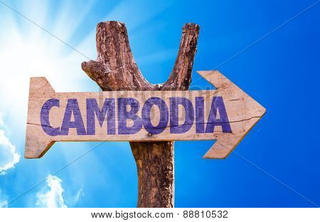 Cambodia wooden sign with sky background