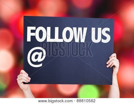 Follow Us with a copy space card with bokeh background