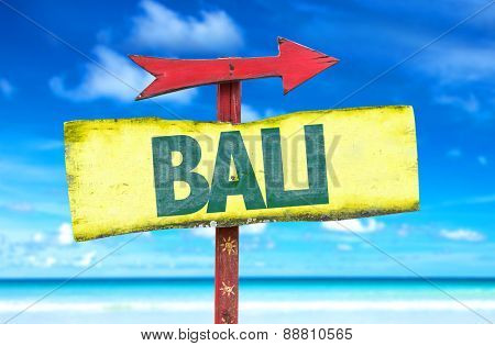 Bali sign with beach background