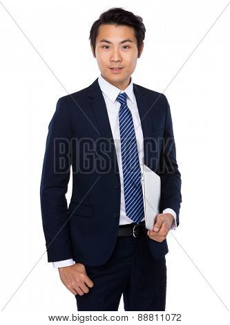 Asian businessman carry with laptop