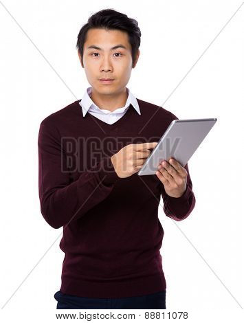 Asian businessman use of digital tablet