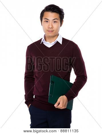Asian young man carry with clipboard
