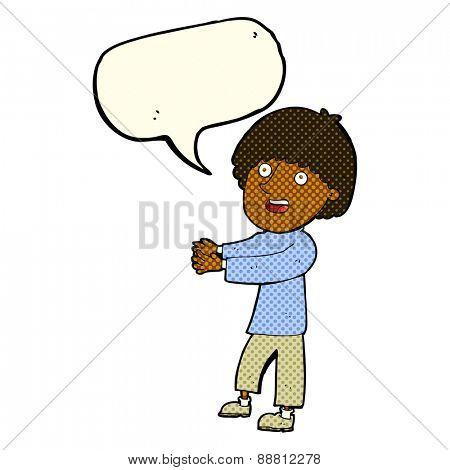 cartoon happy man showing with speech bubble