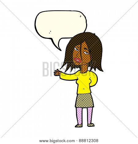 cartoon unhappy woman with speech bubble