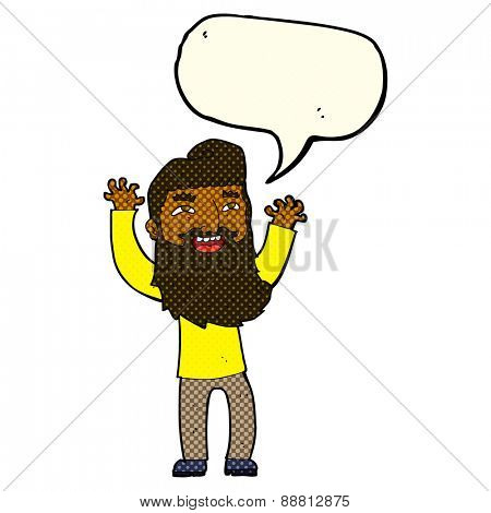 cartoon happy bearded man waving arms with speech bubble