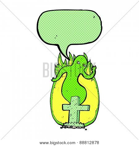 cartoon ghost rising from grave with speech bubble