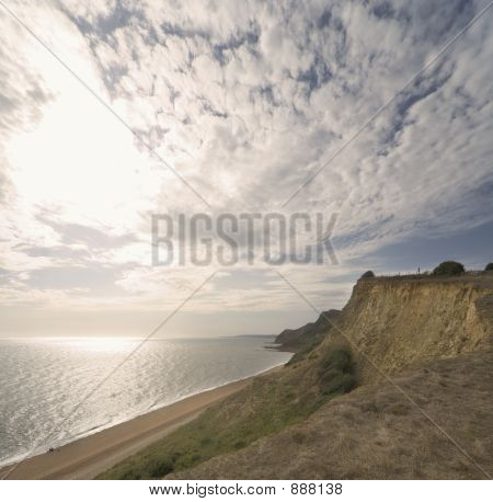 Sky, Cliff, Cliffs, Sea, Water, Clouds, Beach