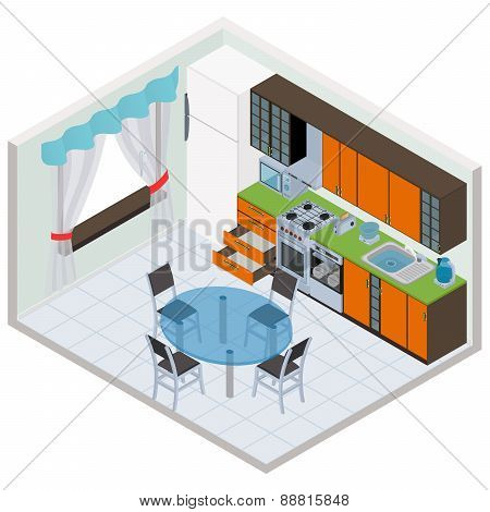 Vector isometric kitchen interior