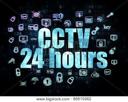 Safety concept: CCTV 24 hours on Digital background