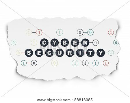 Protection concept: Cyber Security on Torn Paper background