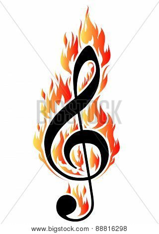 Treble Clef In Fire. Vector Illustration For Design Or Tattoo.