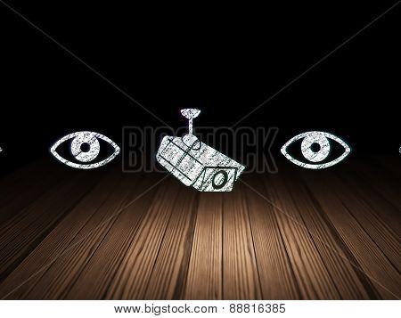 Privacy concept: cctv camera icon in grunge dark room