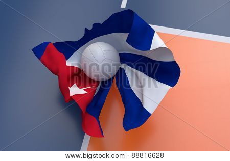 Flag Of Cuba With Championship Volleyball Ball