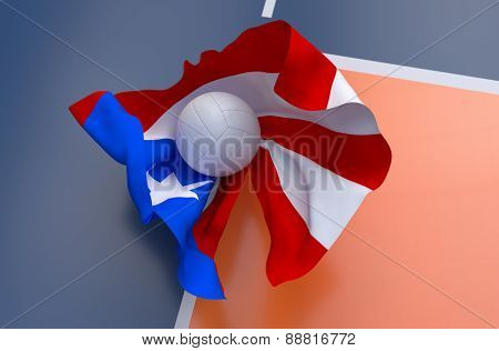 Flag Of Puerto Rico With Championship Volleyball Ball