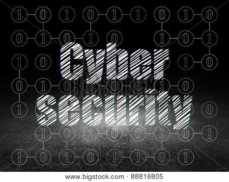 Protection concept: Cyber Security in grunge dark room