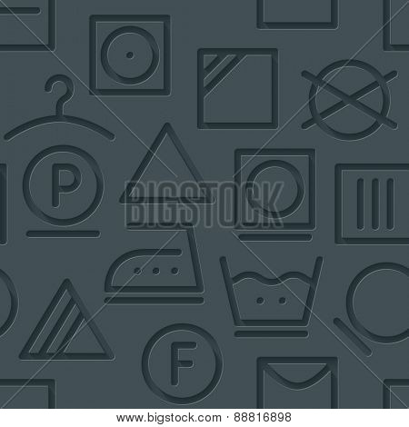 Dark perforated paper with cut out effect. 3d laundry seamless background. Vector EPS10.