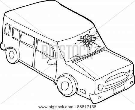Outline Of Car With Fractured Window