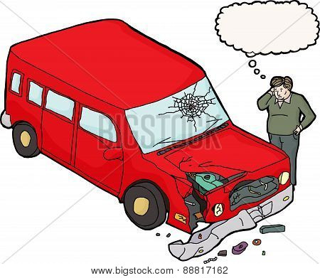 Man Looking Damaged Red Car