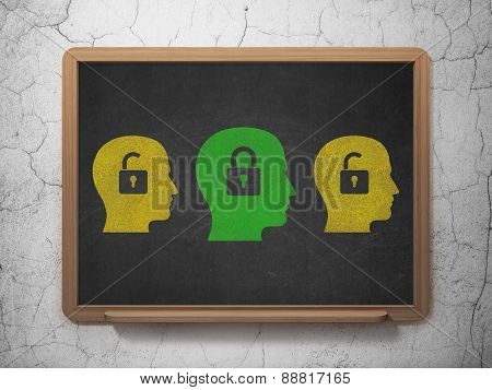 Business concept: head with padlock icon on School Board