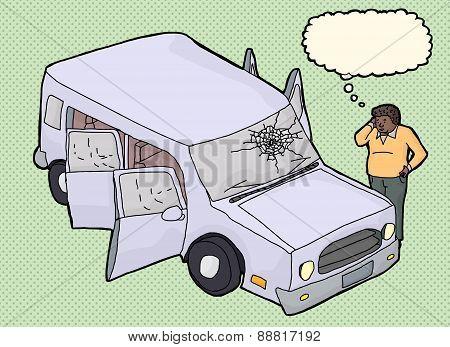 Man Wondering About Damaged Vehicle