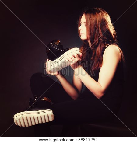 People Concept - Teenage Girl In Casual Shoes