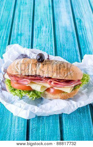 Served Ciabatta Sandwich