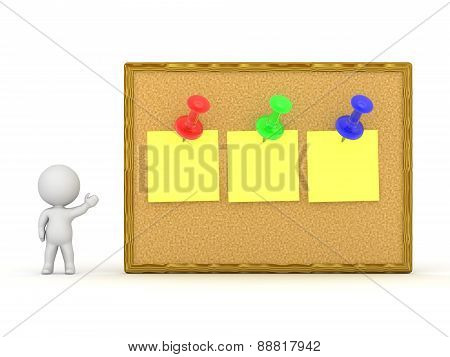 3D Character Showing Cork Board With Three Notes