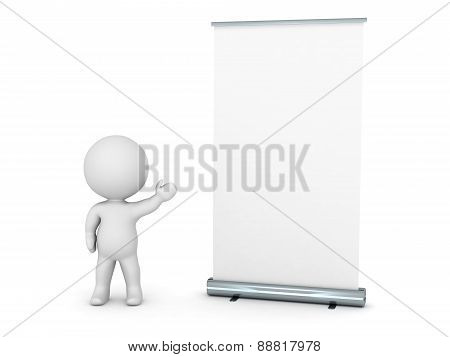 3D Character Showing Roll-Up Poster