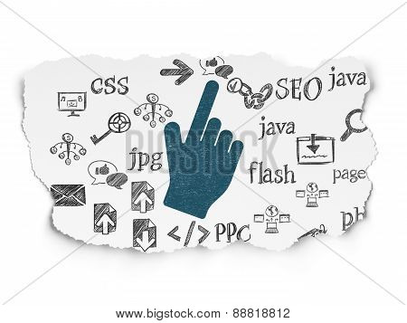 Web development concept: Mouse Cursor on Torn Paper background
