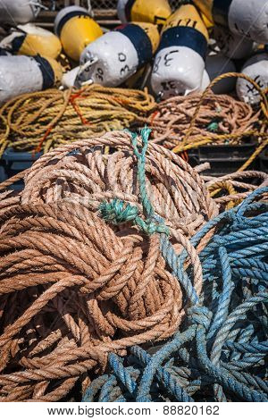 Floats and rope for lobster fishing in North Rustico, Prince Edward Island, Canada.