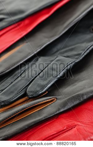 Assorted selection of leather female gloves closeup
