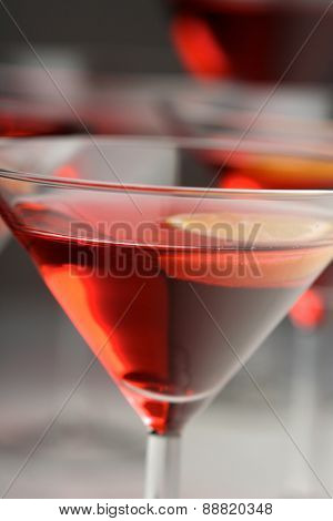 Close up of drink in martini glass