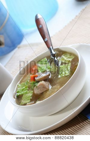 Close up of broth soup