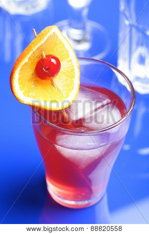 Studio shot of beverage at blue backround