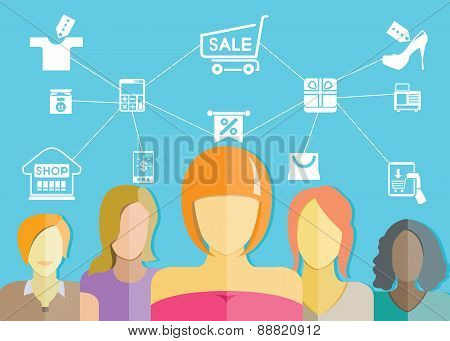 women group and shopping concet