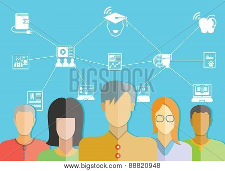 student group and online education concept