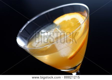 Studio shot of beverage in martini glass