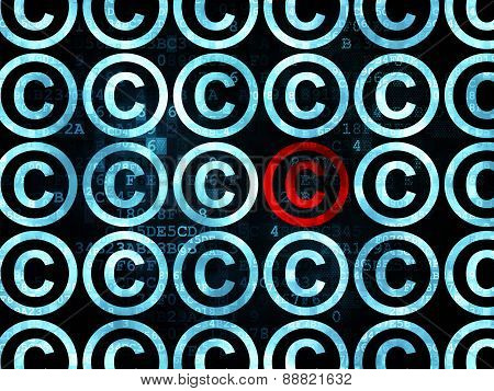 Law concept: copyright icon on Digital background