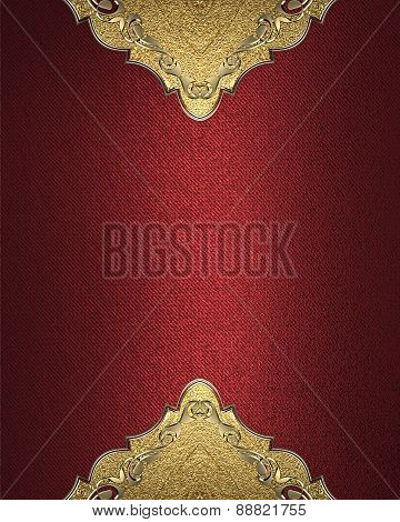 Element For Design. Template For Design. Red Background With Gold Pattern