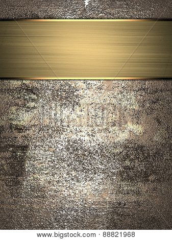 Abstract Grunge Metall Texture With Gold Nameplate